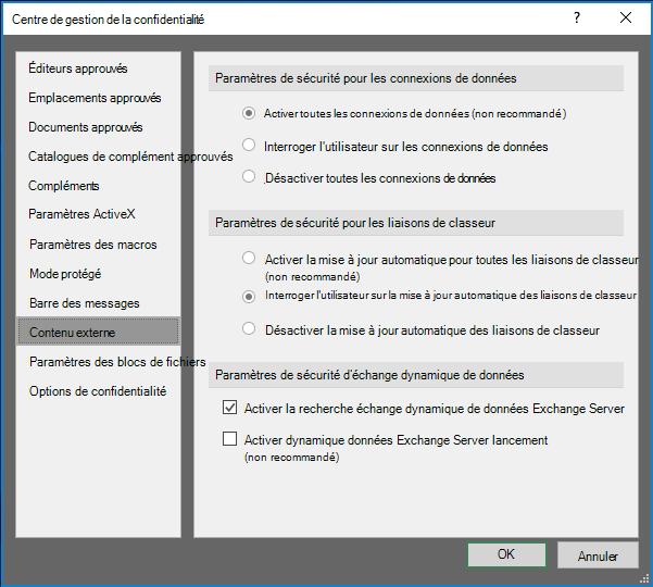 Paramètres de contenu externe dans le centre de gestion de la confidentialité d'Excel