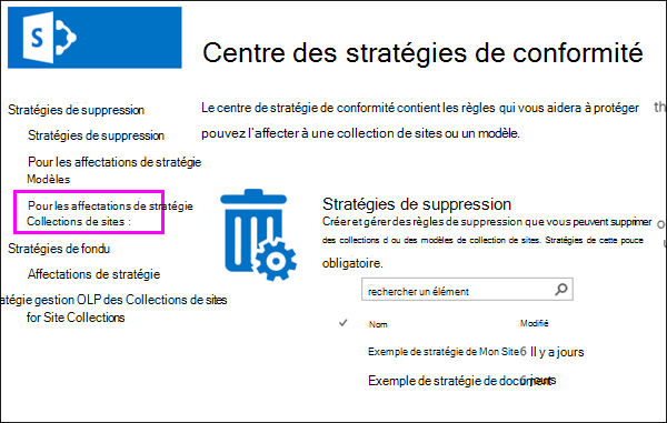 Lier les attributions de stratégies de Collections de sites