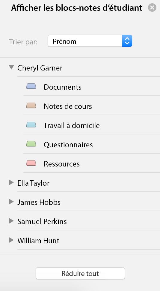 Afficher le volet Office blocs-notes étudiant