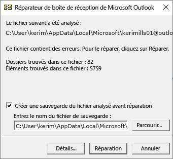 Résultats d'un fichier de données .pst Outlook analysé à l'aide du Réparateur de boîte de réception de Microsoft (SCANPST. EXE)