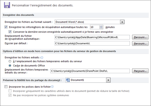Options de Word 2010 enregistrer