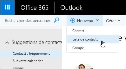 Capture d'écran de la commande Nouveau, avec l'option Liste de contacts sélectionnée.