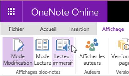 Ouvrir les outils d'apprentissage dans OneNote Online en sélectionnant l'onglet Affichage