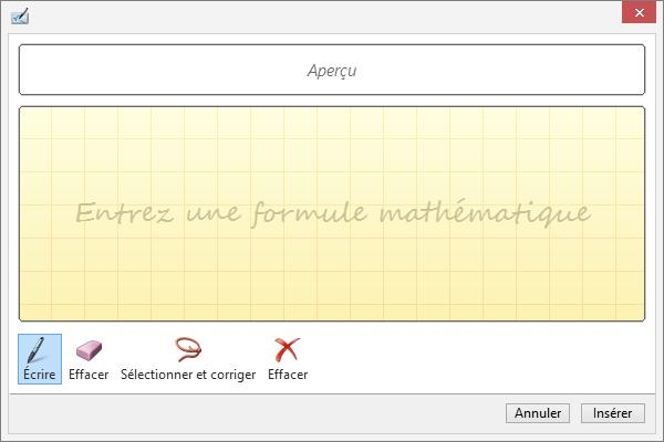 Volet Équation manuscrite dans Word