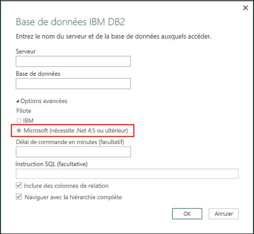 Excel Power BI - Boîte de dialogue Connecteur de base de données IBM DB2