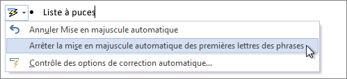 Menu d'options de correction automatique