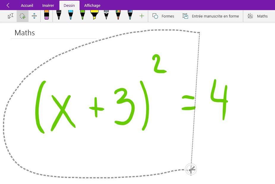 Sélection par lasso une équation mathématique manuscrite