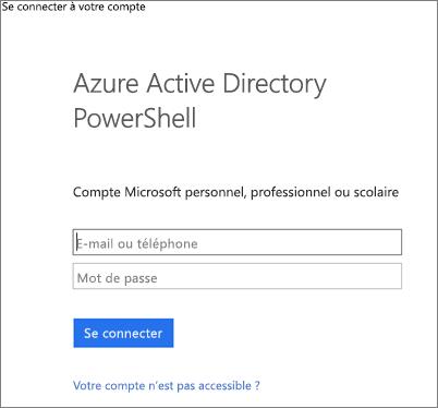 Entrer vos informations d'identification de l'administrateur Azure Active Directory