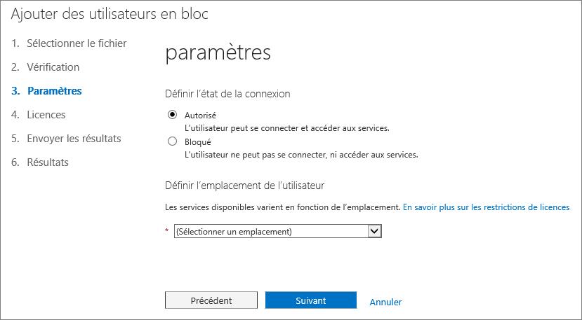 Étape3 de l'Assistant Ajouter des utilisateurs en bloc - Paramètres