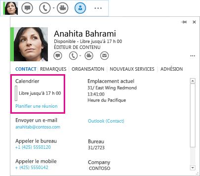 Capture d'écran de menu Lync rapide de contact et carte de visite avec calendrier et planification de réunion mis en surbrillance
