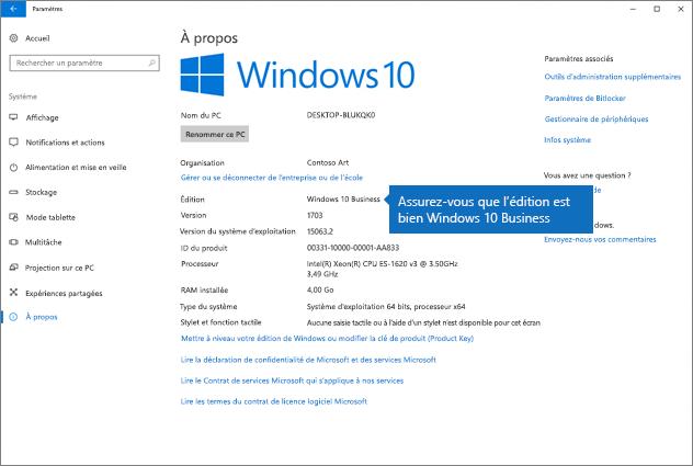Vérifiez que l'édition de Windows est Windows10 Business.