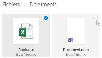 Capture d'écran de la sélection d'un fichier dans OneDrive en mode Vignette