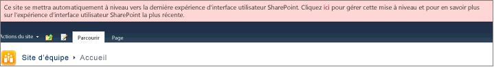 Bannière rose indiquant que votre site est programmé pour recevoir une mise à niveau automatique