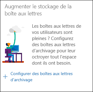 Capture d'écran du widget «Augmenter l'espace de stockage de boîtes aux lettres» dans le Centre de sécurité et conformité