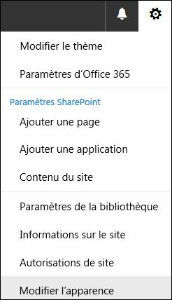 Capture d'écran montrant l'option de menu Modifier l'apparence dans SharePoint.