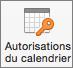 Bouton Autorisations de calendrier dans Outlook2016 pour Mac