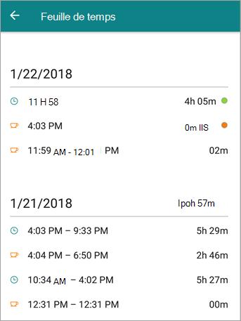 Voici à quoi ressemble feuille de temps un employé dans l'application mobile StaffHub.