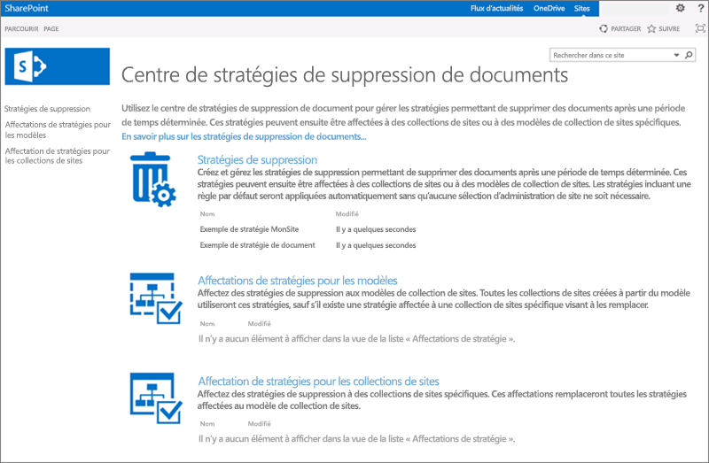Page d'accueil du centre de stratégies de suppression de documents