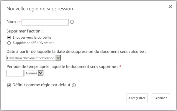 Nouvelle page de règle de suppression