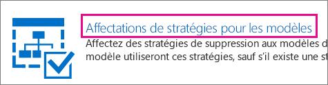 Affectations de stratégie pour l'option de modèles