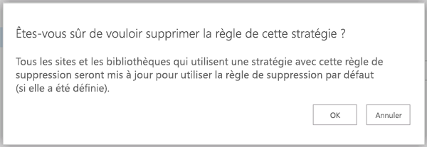 Confirmer la suppression de règle de message de la stratégie