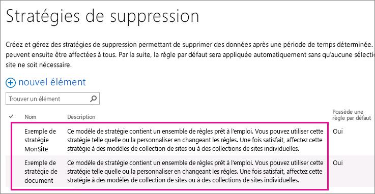 Exemples de stratégies de suppression document