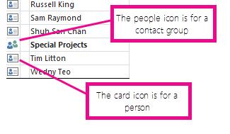 סמלי אנשים מיועדים לקבוצות אנשי קשר, וסמלי כרטיסים מיועדים לאנשים בודדים