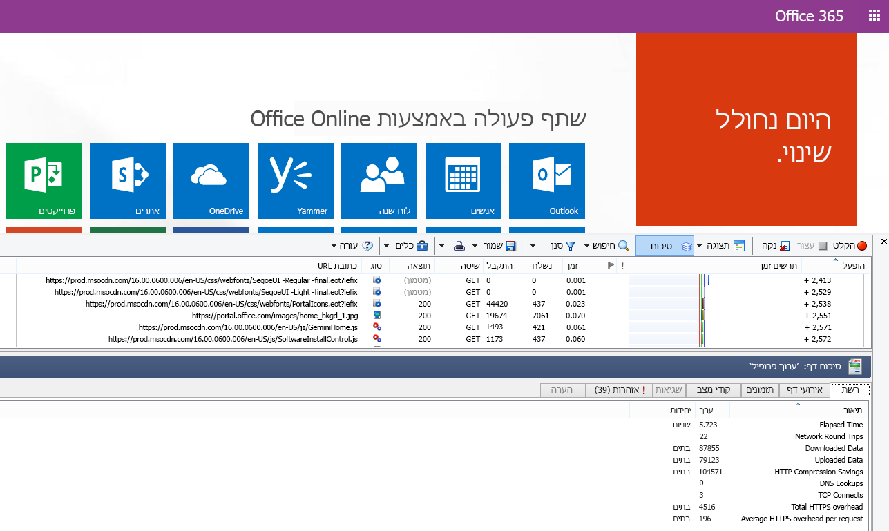 HTTPWatch מציג את הכרטיסיה Network לטעינת דף של דף הבית של Office 365.