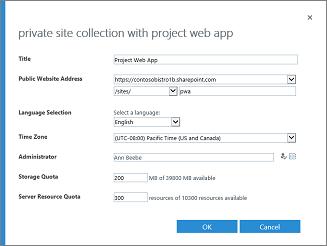 אוסף אתרים פרטי עם Project Web App