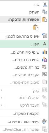 צילום מסך של אפשרויות זמינות מתפריט הקיצור לאחר הבחירה של תוויות ציר קטגוריות, כולל אפשרות של גופן מודגש.