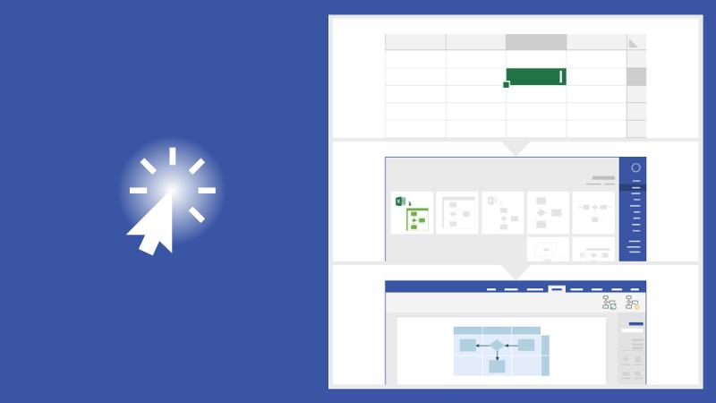 תרשים זרימה חוצה ארגון ב- Visio - רכיב המחשה של נתונים ב- Excel