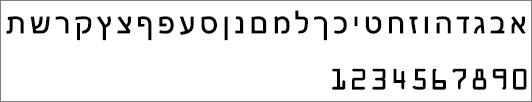 הצגת הגופן המשמש עבור אותיות ומספרים במפתח מוצר של Office