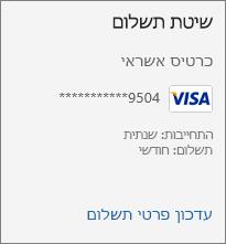 המקטע 'שיטת תשלום' בדף 'מנוי', המציג את הקישור 'עדכון פרטי תשלום'.