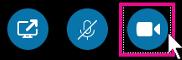 לחץ על אפשרות זו כדי להפעיל את המצלמה ולהציג את עצמך במהלך פגישה או צ'אט וידאו של Skype for Business. כחול כהה זה מציין כי המצלמה מופעלת.