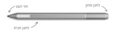 עט Surface, עם הסברים עבור המחק, קצה העט ולחצן הלחיצה באמצעות לחצן העכבר הימני