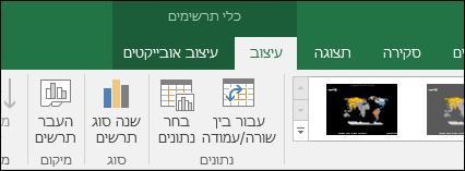 כלי רצועת הכלים בתרשים מפה של Excel