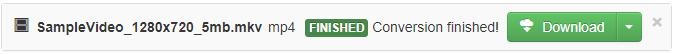 כשתהליך ההמרה מסתיים, מופיע לחצן הורדה ירוק כדי שתוכל להעתיק את קובץ המדיה שהומר בחזרה למחשב שלך