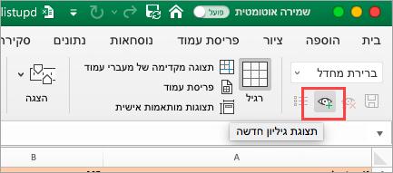 הצגת גיליון אלקטרוני של Excel