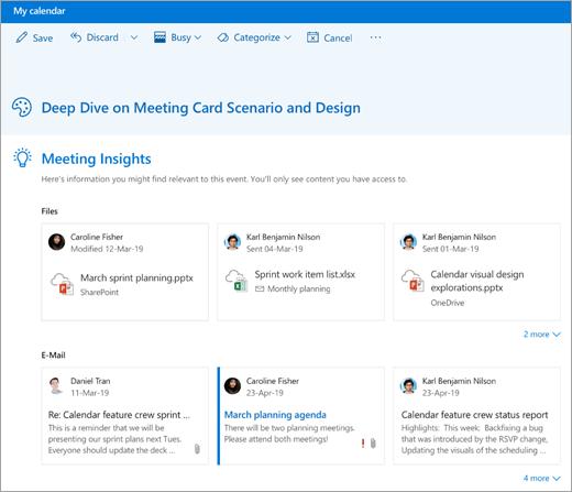 צילום מסך של תובנות לגבי פגישות