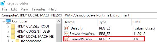 Java Runtime Environment version in registry