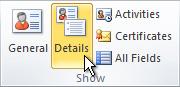 הקבוצה 'הצגה' ברצועת הכלים באיש קשר של Outlook
