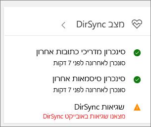 האריח DirSync בתצוגה מקדימה של מרכז הניהול