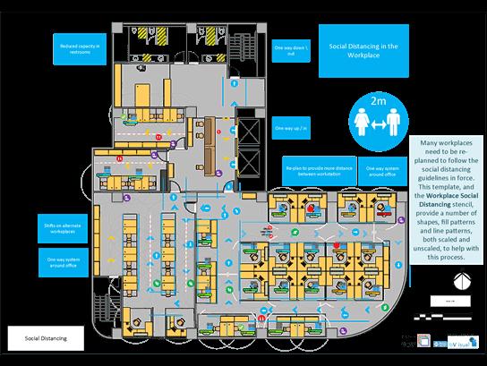 תבנית Visio לתכנון קומה עם התרחקות חברתית.