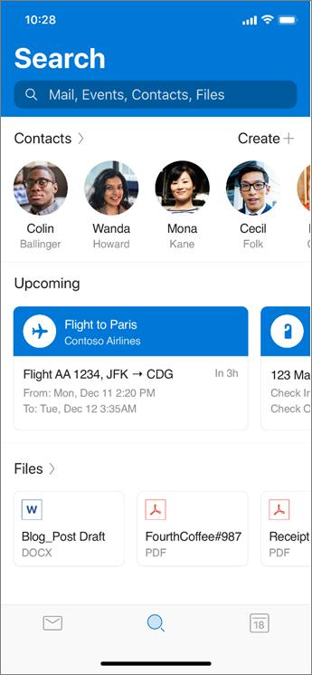 שימוש בחיפוש ב-Outlook mobile