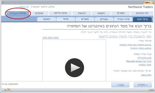 תבנית Goods - הכרטיסיה Getting Started