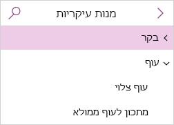 הצגת רשימת העמודים כאשר עמודי המשנה מכווצים