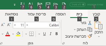 טיפים למקשים של רצועת הכלים של Excel