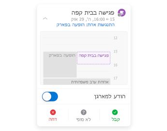 הזמנה לפגישה עם לוח השנה המצומצם בחלק העליון, מקטע הערות במרכז ולחצני תשובה בחלק התחתון