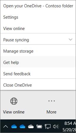 תפריט ' עוד ' של לקוח שולחן העבודה של OneDrive for Business מציג קבלת עזרה ושליחת אפשרויות משוב
