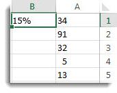 המספרים בעמודה A, בתאים A1 עד A5, 15% בתא B1
